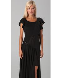 The Addison Story - Black Tee Dress with Leather Trim - Lyst