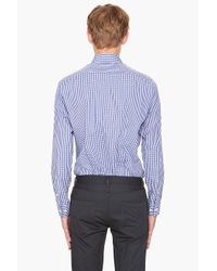 Theory - Blue Check Sport Shirt Navy for Men - Lyst