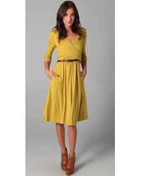 Tibi | Yellow Wool Jersey Wrap Dress | Lyst