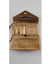 Tory Burch | Metallic Saffiano Robinson Envelope Wristlet | Lyst