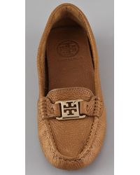 Tory Burch | Brown Kendrick Pebbled Leather Drivers | Lyst
