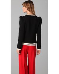 MILLY | Black Marzia Bow-neck Jacket | Lyst