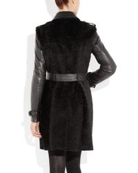Burberry - Black Shearling and Leather Coat - Lyst