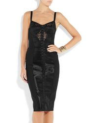Dolce & Gabbana | Black Lace and Satin Bustier Dress | Lyst