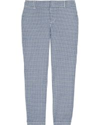J.Crew | Blue Gingham Cropped Cotton Pants | Lyst