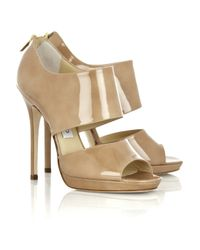 Jimmy Choo   Natural Private Patent-leather Sandals   Lyst