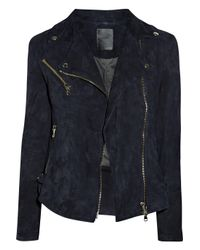Lot78 | Black Zoe Suede Biker Jacket | Lyst
