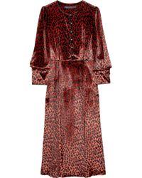 Marc By Marc Jacobs | Brown Sphinx Leopard-print Fine-velvet Dress | Lyst