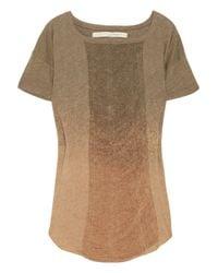 Raquel Allegra | Brown Shredded Dip-dye Cotton-jersey T-shirt | Lyst