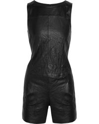 Theory | Black Jenma Leather Playsuit | Lyst