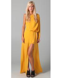 Acne Studios - Yellow Emile Silk Maxi Dress - Lyst
