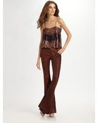 Alice + Olivia | Brown Leather Bell Cuff Pants | Lyst
