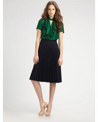 MILLY | Green Ruffled Silk Blouse | Lyst