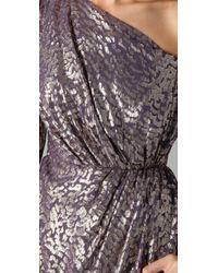 Shoshanna - Metallic One Shoulder Draped Dress - Lyst
