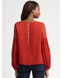 The Addison Story | Brown Lace Trimmed Top | Lyst