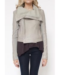 VEDA   Gray Max Leather Jacket in Smoke   Lyst