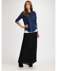 VINCE | Black Pleated Maxi Skirt | Lyst