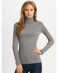 VINCE | Metallic Ribbed Turtleneck Sweater | Lyst