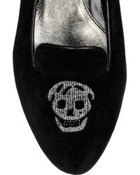 Alexander McQueen - Blue Skull-embellished Velvet Loafers - Lyst