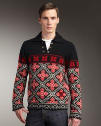 Alexander McQueen Black Fair Isle Sweater for men