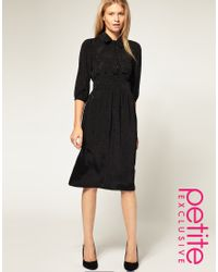 ASOS Collection - Black Asos Petite Exclusive Midi Dress in Star Jacquard Print - Lyst