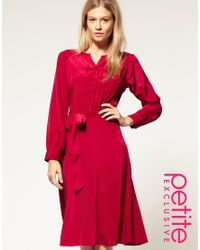 ASOS Collection - Red Asos Petite Exclusive Midi Dress with Button Front - Lyst