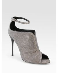 B Brian Atwood - Liese Metallic Peep Toe Ankle Boots - Lyst