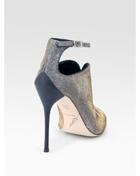 B Brian Atwood | Liese Metallic Peep Toe Ankle Boots | Lyst