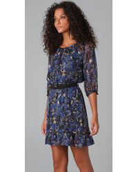 Charlotte Ronson - Blue Anastasia Floral Dress with Belt - Lyst