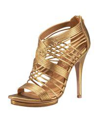 Elie Tahari | Metallic Colby Cage Platform Sandal | Lyst