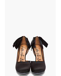 Lanvin | Black Bow-embellished Satin Pumps | Lyst