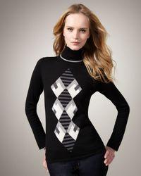 Lauren Hansen - Black Argyle Turtleneck - Lyst