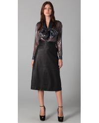 Raoul - Black Leather Midi Skirt - Lyst