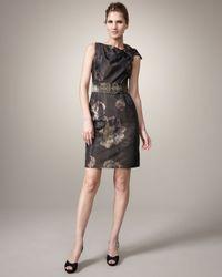 Teri Jon Metallic Bow-detail Belted Dress