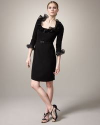 Teri Jon Black Ruffled-collar Belted Dress