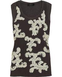 Robert Rodriguez | Black Paillette-embellished Linen-jersey Top | Lyst