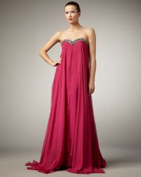 Alberto Makali | Pink Flowy Bead-top Strapless Gown | Lyst