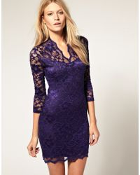 ASOS Collection | Purple Asos Lace Dress with Scalloped Neck | Lyst