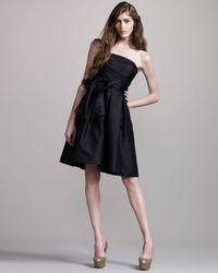 David Meister - Black Strapless Tie-front Dress - Lyst