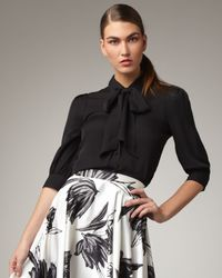 Halston | Black Tie-neck Blouse | Lyst