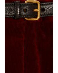 Miu Miu | Red Leather-buckled Corduroy Skirt | Lyst
