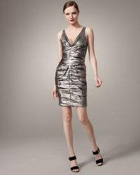 Nicole Miller | Metallic Foiled V-neck Dress | Lyst