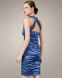Nicole Miller Blue Techno Metallic Halter Dress