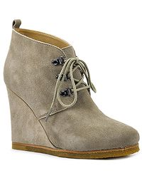 Steve Madden | Brown Tanngoo - Taupe Suede Wedge Bootie | Lyst