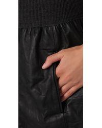 Theory | Black Light Leather Blisa Skirt | Lyst