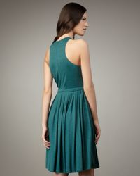 Tibi - Green Pleated Wool Jersey Dress - Lyst