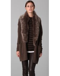 Vince | Brown Fur Collar Cardigan | Lyst