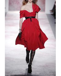 Prabal Gurung | Red Draped Silk-faille Dress | Lyst