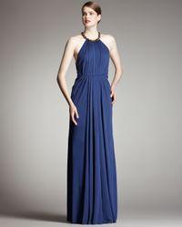Robert Rodriguez - Blue Jennifer Halter Gown, Ocean - Lyst