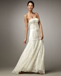 Sue Wong - White Beaded Drop-waist Gown - Lyst
